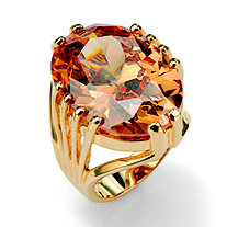 24.02 TCW Oval Cut Champagne-Color Cubic Zirconia 14k Yellow Gold-Plated Ring