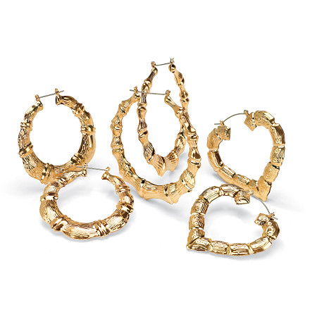 "3 Pair Bamboo Style Hoop Earrings Set in Yellow Gold Tone (2 1/3"", 2 1/2"", 2 7/8"") at PalmBeach Jewelry"