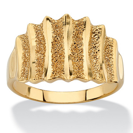 Textured Vertical-Row Concave Ring in 18k Gold over Sterling Silver at PalmBeach Jewelry