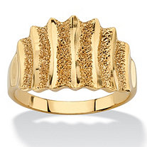 Textured Vertical-Row Concave Ring in 18k Gold over Sterling Silver
