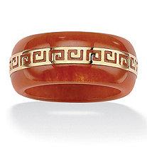 "Round Red Genuine Jade 14k Yellow Gold ""Greek Key"" Ring"