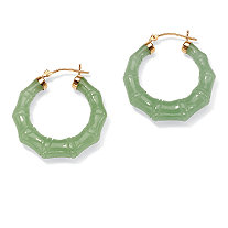 "Genuine Green Jade 14k Yellow Gold Bamboo-Style Hoop Earrings (1 1/8"")"