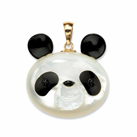 Genuine Mother-Of-Pearl and Reconstituted Onyx 14k Yellow Gold Panda Bear Pendant at PalmBeach Jewelry