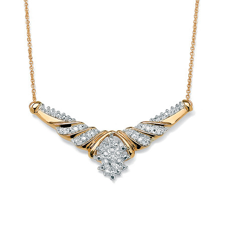 1/10 TCW Diamond Cluster Chevron Necklace in 10k Yellow Gold at PalmBeach Jewelry
