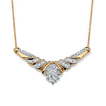 1/10 TCW Diamond Cluster Chevron Necklace in 10k Yellow Gold