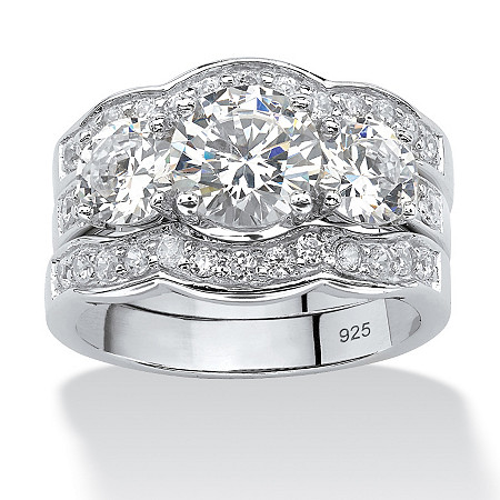 4.43 TCW Round Cubic Zirconia 3-Piece Bridal Set in Sterling Silver at Direct Charge presents PalmBeach