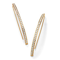 1.78 TCW Round Cubic Zirconia 14k Yellow Gold-Plated Linear Wire Drop Earrings