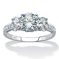 Round Cubic Zirconia 3-Stone Engagement Ring ONLY $73.95