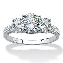 SETA JEWELRY 3.15 TCW Round Cubic Zirconia 3-Stone Engagement Ring in 10k White Gold
