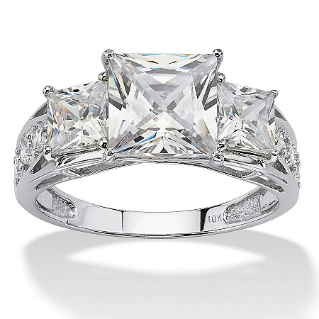 3.72 TCW Princess-Cut Cubic Zirconia Solid 10k White Gold Ring at PalmBeach Jewelry