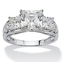 3.72 TCW Princess-Cut Cubic Zirconia Solid 10k White Gold Ring