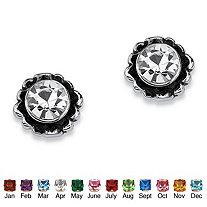Round Birthstone Stud Earrings in Sterling Silver