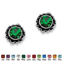 Round Birthstone Stud Earrings in Sterling Silver
