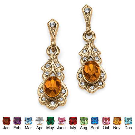 Oval-Cut Birthstone Drop Earrings in Antiqued Yellow Gold Tone at PalmBeach Jewelry