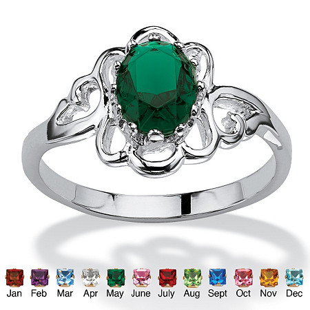 Oval-Cut Open Scrollwork Birthstone Ring in Sterling Silver at PalmBeach Jewelry