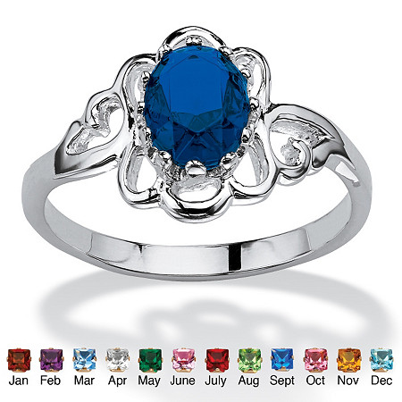 Oval-Cut Open Scrollwork Simulated Birthstone Ring in Sterling Silver at PalmBeach Jewelry
