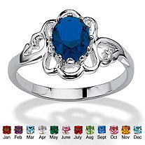 Oval-Cut Open Scrollwork Simulated Birthstone Ring in Sterling Silver