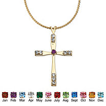 SETA JEWELRY Simulated Birthstone Cross Pendant Necklace in Yellow Gold Tone