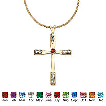 Simulated Birthstone Cross Pendant Necklace in Yellow Gold Tone