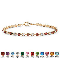Round Birthstone and Crystal Tennis Bracelet in Yellow Gold Tone
