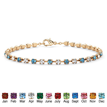 Round Birthstone and Crystal Tennis Bracelet in Yellow Gold Tone at PalmBeach Jewelry