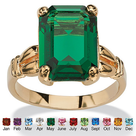 Emerald-Cut Birthstone Ring in 14k Gold-Plated at PalmBeach Jewelry
