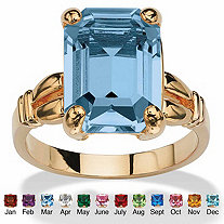 Emerald-Cut Simulated Birthstone Ring in 14k Gold-Plated