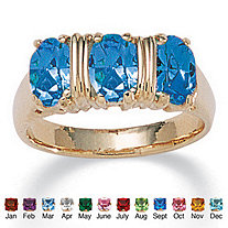 Oval Cut Birthstone 14k Yellow Gold-Plated 3-Stone Ring