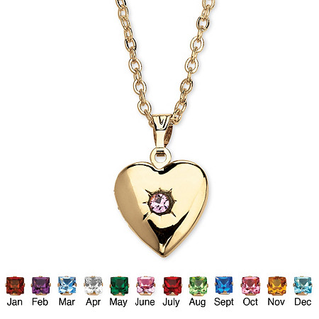 Birthstone Heart Locket Necklace in Yellow Gold Tone at PalmBeach Jewelry