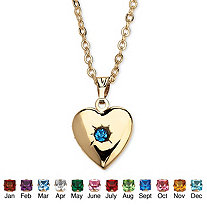 Simulated Birthstone Heart Locket Necklace in Yellow Gold Tone