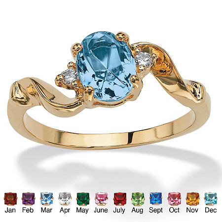 Oval-Cut Birthstone Twist Ring in 14k Gold-Plated at PalmBeach Jewelry