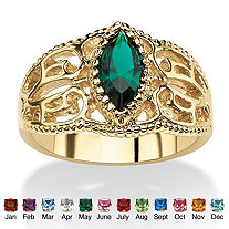 SETA JEWELRY Marquise-Cut Birthstone Filigree Ring in 14k Gold-Plated Finish