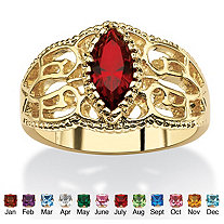 Marquise-Cut Birthstone Filigree Ring in 14k Gold-Plated Finish