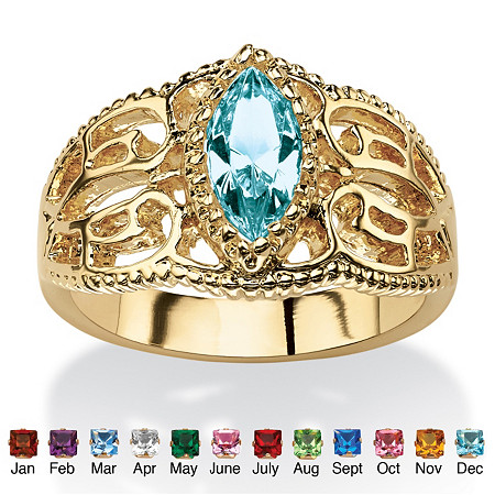 Marquise-Cut Birthstone Filigree Ring in 14k Gold-Plated Finish at PalmBeach Jewelry