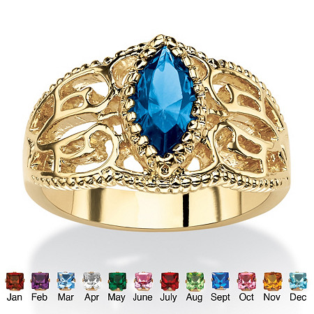Marquise-Cut Simulated Birthstone Filigree Ring in 14k Gold-Plated Finish at PalmBeach Jewelry