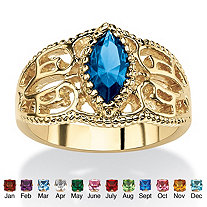 Marquise-Cut Simulated Birthstone Filigree Ring in 14k Gold-Plated Finish