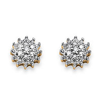Diamond Accent Starburst Stud Earrings in Solid 10k Yellow Gold