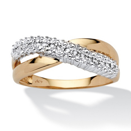 Diamond Accent Crossover Ring in 10k Yellow Gold at PalmBeach Jewelry