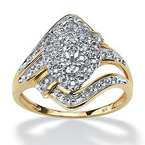 1/10 TCW Round Diamond Swirled Cluster Ring in Solid 10k Gold