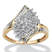 Diamond Accent Cluster Bypass Ring in Solid 10k Gold
