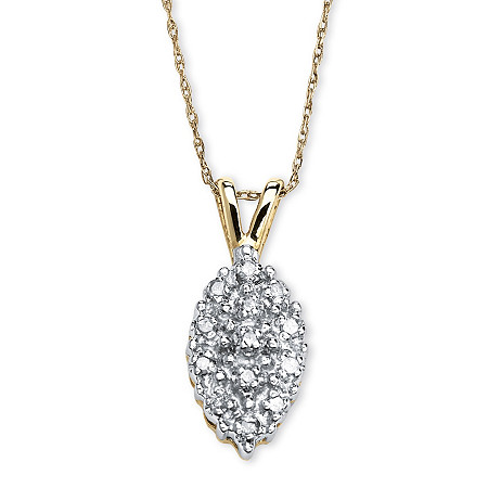 1/10 TCW Pave Diamond Cluster Pendant Necklace in Solid 10k Yellow Gold at PalmBeach Jewelry
