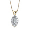 Related Item 1/10 TCW Pave Diamond Cluster Pendant Necklace in Solid 10k Yellow Gold