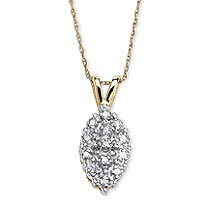 1/10 TCW Pave Diamond Cluster Pendant Necklace in Solid 10k Yellow Gold