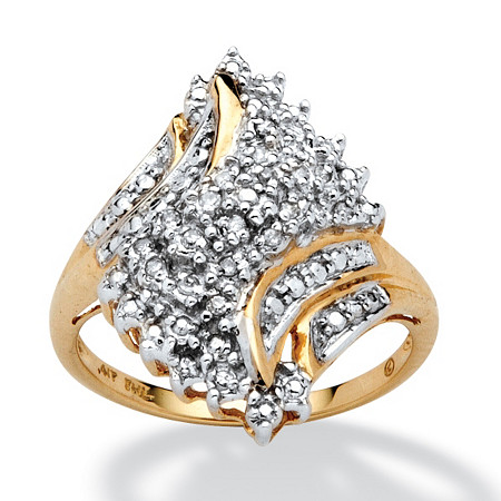 1/10 TCW Round Diamond Swirled Ring in Solid 10k Gold at PalmBeach Jewelry