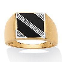 Men's Genuine Onyx with Diamond Accents 18k Gold over Sterling Silver Diagonal Ring