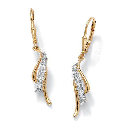 Diamond Accent Waterfall Drop Earrings in 18k Gold over Sterling Silver at PalmBeach Jewelry