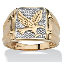 SETA JEWELRY Men's Round Two-Tone Diamond Accent 18k Gold over Sterling Silver Eagle Ring
