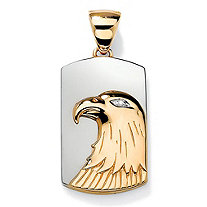 SETA JEWELRY Men's Diamond Accented Eagle Charm Pendant in Two-Tone 14k Yellow Gold over Sterling Silver