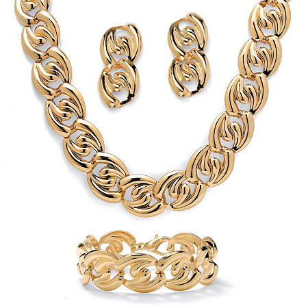 Curb-Link Necklace, Bracelet and Drop Earrings 3-Piece Set in Yellow Gold Tone at PalmBeach Jewelry