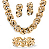 Related Item Curb-Link Necklace, Bracelet and Drop Earrings 3-Piece Set in Yellow Gold Tone